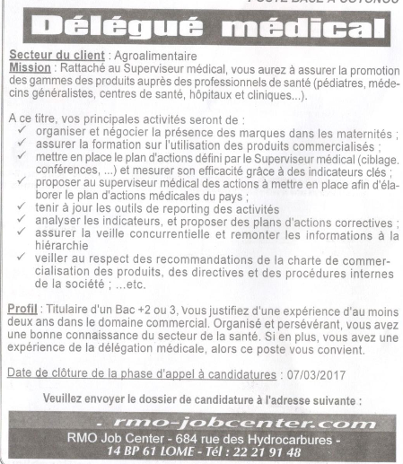 lettre de motivation visiteur medical