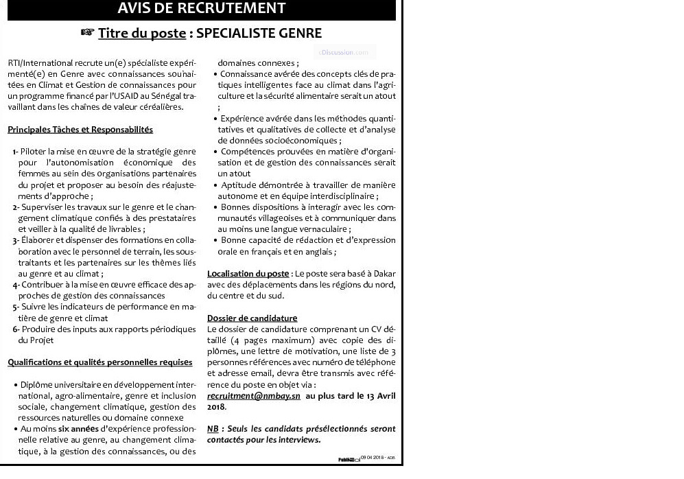 Rti international recrute 01 sp cialiste genre - Cabinet recrutement international afrique ...