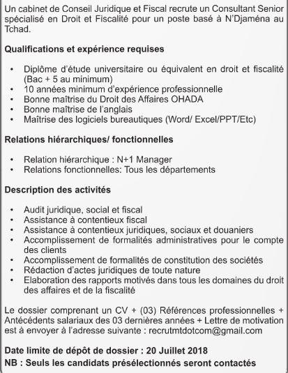 Cabinet De Conseil Juridique Et Fiscal Recrute 01 Consultant Senior