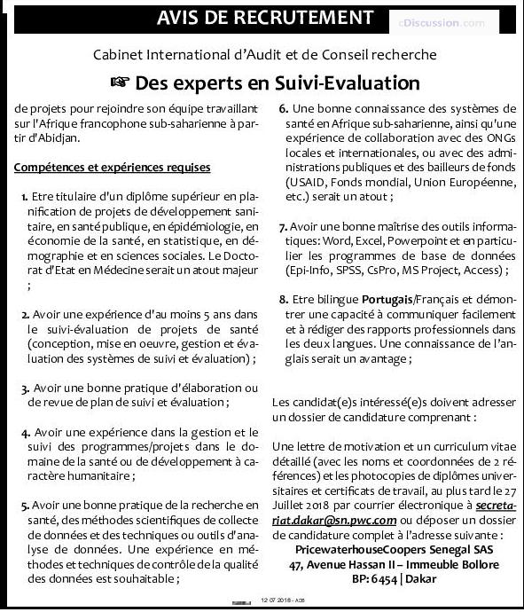 Cabinet international d 39 audit et de conseil recrute des experts en suivi valuation de projet - Cabinet audit et conseil ...