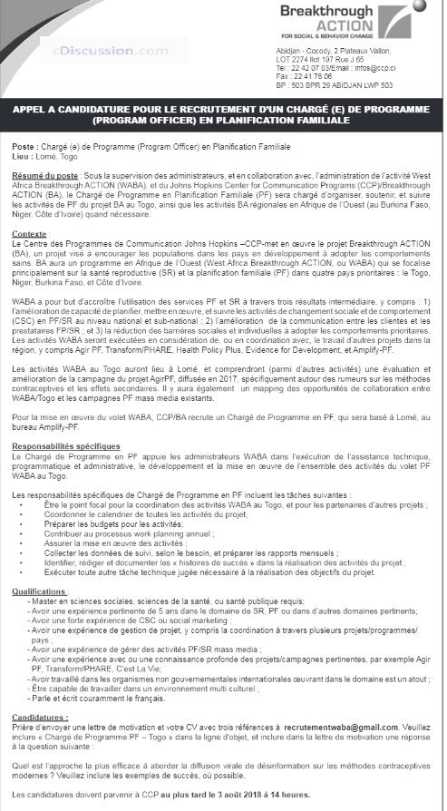 ccp  ba recrute 01 charg u00e9 de programme en planification familiale-togo