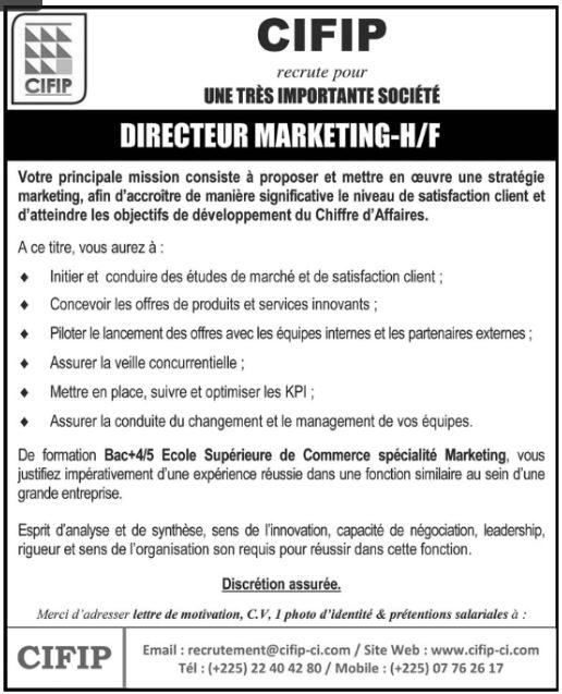 Cifip Recrute 01 Directeur Marketing Recrutement Offre D