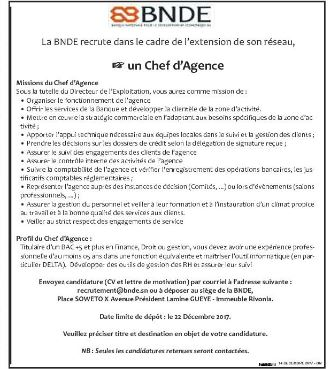 La Bnde Recrute 01 Chef D Agence Recrutement Offre D Emploi