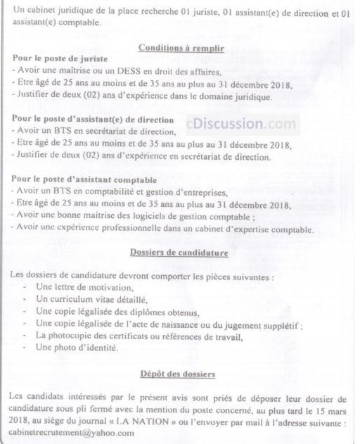Cabinet Juridique De La Place Recrute 01 Juriste 01 Assistant De