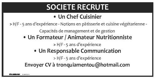 Postuler cette offre avec votre compte cd for Chef cuisinier emploi