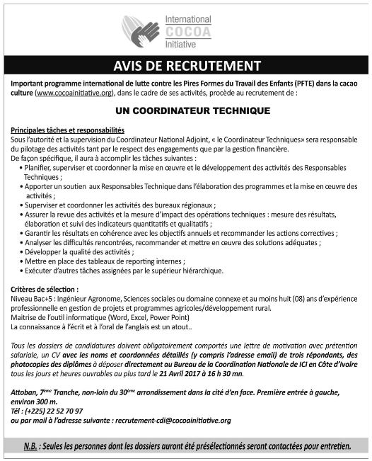 International cocoa initiative recrute un 01 - Cabinet recrutement international afrique ...