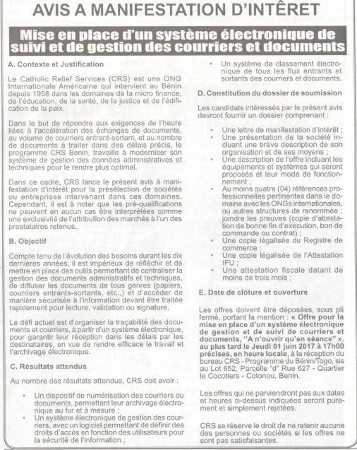 Catholic relief services recrute un cabinet pour la mise en place d 39 un syst me lectronique - Cabinet d expertise comptable au benin ...