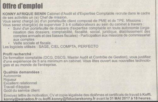 Konny afrique benin cabinet d 39 audit et d 39 expertise comptable recrute un chef de mission - Travailler en cabinet d expertise comptable ...