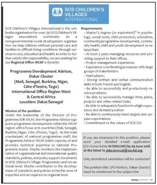 SOS Children's Village International recrute un Program ...