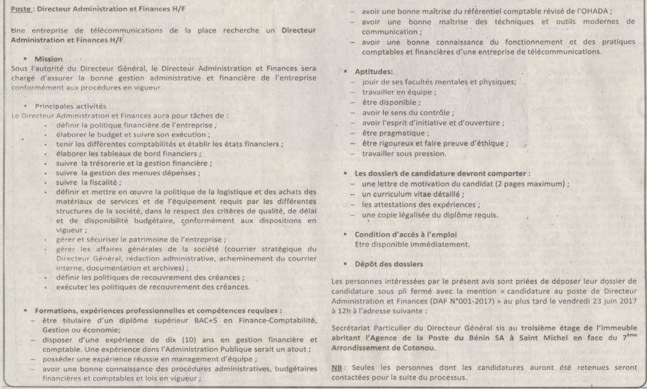 Une entreprise de t l communication recrute 01 directeur - Offre d emploi directeur office de tourisme ...