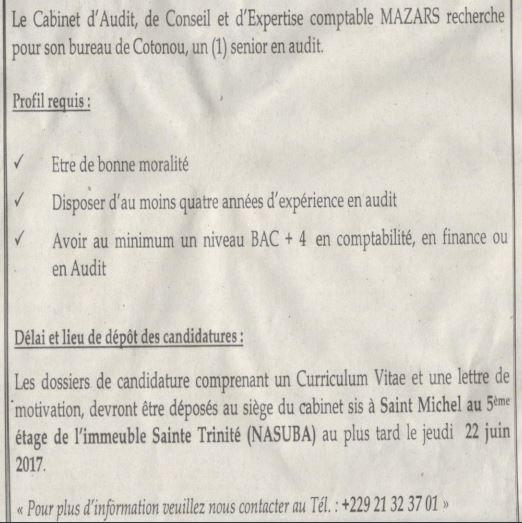 Cabinet d'Adit et d'Expertise comptable MAZARS recrute (01) Senior on