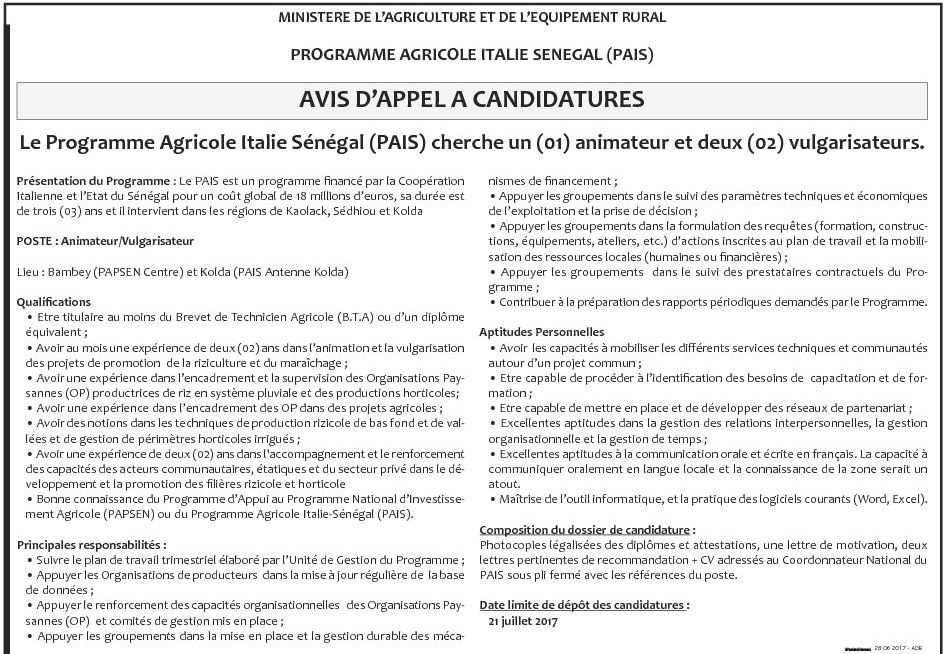 le programme agricole italie s u00e9n u00e9gal recrute pour 3 postes