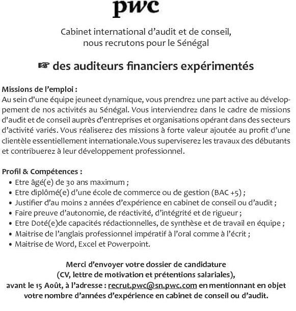 recrutement des auditeurs financiers par un cabinet