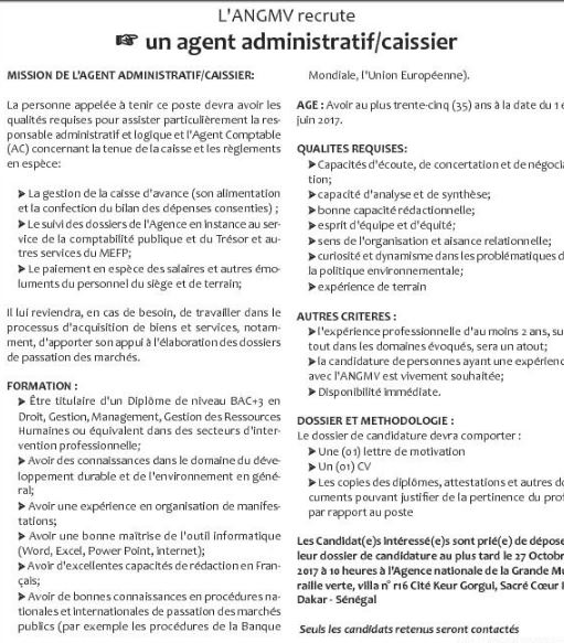 L Angmv Recrute 01 Agent Administratif Caissier