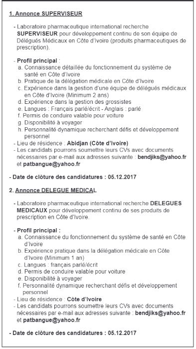 Un laboratoire pharmaceutique international recrute 01 - Cabinet recrutement international afrique ...