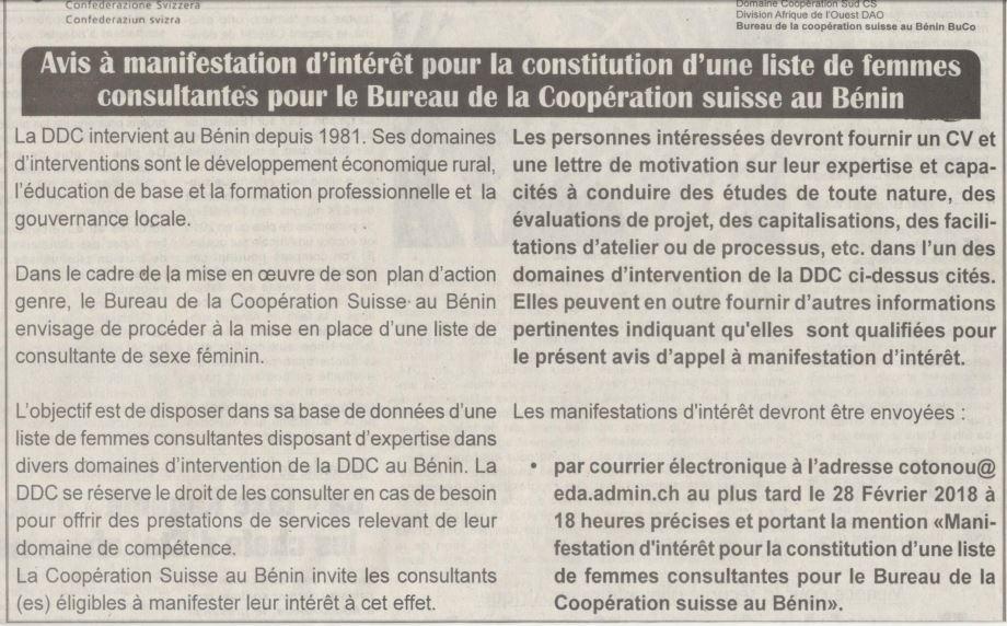 Coop ration suisse recrute des femmes consultantes recrutement offre d 39 emploi afrique - Cabinet d expertise comptable au benin ...