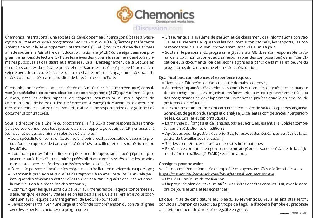 Chemonics international recrute 01 consultant sp cialiste - Cabinet recrutement international afrique ...