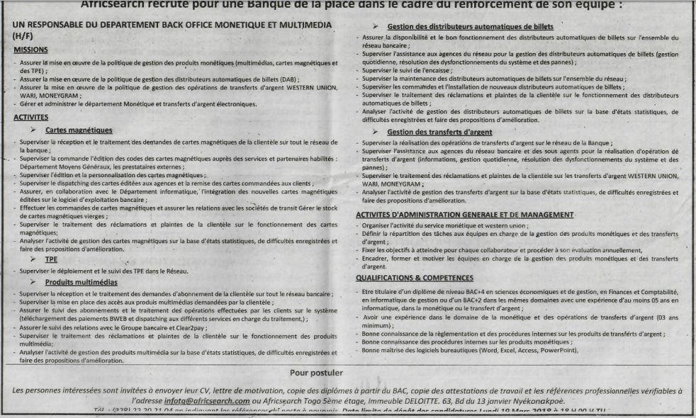 Premi re plateforme d 39 offres d 39 emploi en afrique de l 39 ouest - Emploi back office banque ...