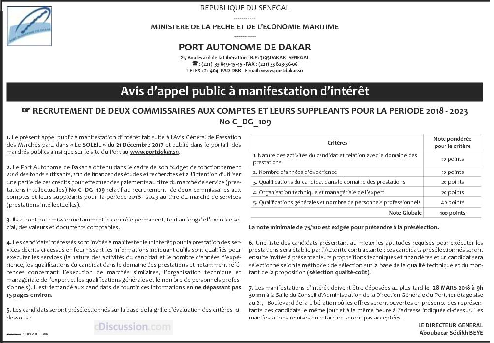 Recrutement Port Autonome De Dakar: Le Port Autonome De Dakar Recrute 02 Commissaires Aux