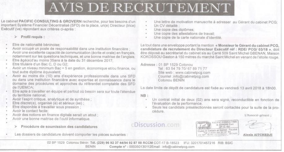 Sfd de la place recrute 01 directeur ex cutif - Offre d emploi directeur office de tourisme ...