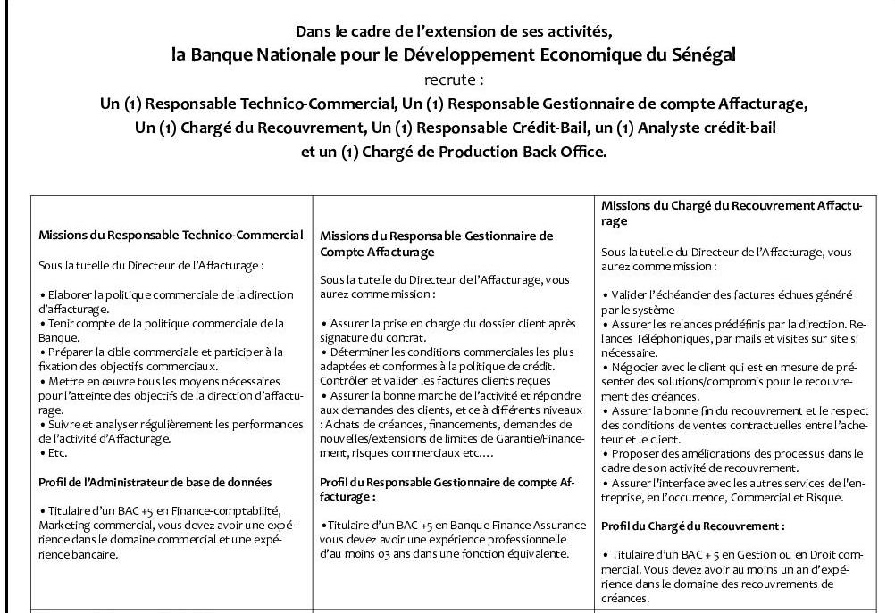 La banque nationale pour le d veloppement conomique bnde du s n gal recrute pour 06 postes - Gestionnaire back office banque ...