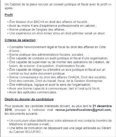 Un Cabinet De La Place Recrute 01 Conseil Juridique Et Fiscal
