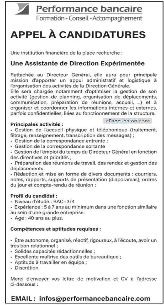 Une Institution Financière Recrute (01) Assistante De Direction Expérimentée En Côte D'Ivoire